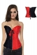 Sexy Embroidered Zipper Black and Red Contrast Color Overbust Corset