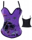 Hell Cat Graffiti Print Corset Purple