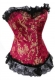 Red Brocade Metal Boning Corset