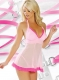 Mesh Chemise With Contrasting Hem Pink