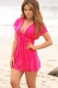 Sexy Mesh Plunge Neck Tunic Beach Cover Up Dress Rosy