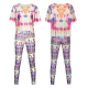 Fashion Hot Sale Colorful Irregular Tassel 2 Pieces Print Top and Pants