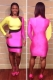 Sexy Color Matching Bandage Dress Pink Yellow