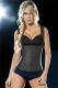 Wide Shoulder Straps Calorie Loss Rubber Corset Black