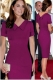 Fad Women's Cotton Blend Doll lapel Pencil Midi Dress Wine Red