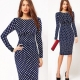 Elegant Women's White Polka Dot Pencil Midi Dress Sapphire Blue
