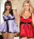 New Arrival Hot Sexy Plus Size  Babydoll With Ribbon Belt Purple