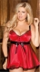 New Arrival Hot Sexy Plus Size  Babydoll With Ribbon Belt Red