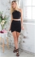Hot Seductive Women Irregular Wrinkle Mini Dress Black