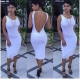 White Stylish Sleeveless Backless Bandage Dress