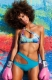 Sexy Bikini Color-Block Hollow Out Beach Costume Blue