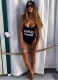 Fashion One Piece Letter Printed Swimwear WORST BEHAVIOR