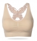 Plus size side hollow out sexy Sport Bra Apricot