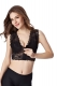 Embroider Lace Breathable Zip Sporty Bra Black