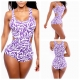 Women Sexy strap one piece swimsuit hollow out No-padded Spandex bandage swimwear swimsuit violet flame