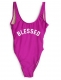 Fashion One Piece Letter Printed Bikini BLESSED