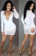 Newest Long Sleeve Deep V-Neck Patchwork Bodycon Dress White