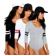 Womens Basic Striped Long Sleeve Bodysuit Black