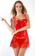 Women's Sexy Faux Leather Shoulder Strap Lace Skirt Corset Red