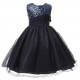 Little Girls' Sequin Mesh Flower Ball Gown Party Dress Tulle Prom Dark Blue