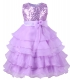 Flower Girl's Dress Sequins Tulle Wedding Pageant Dance Dress Purple