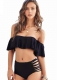 Women Two Pieces Clear Sexy Ruffled Off-shoulder Bikini Black