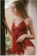 2017 Women Deep V Neck Lace Sexy Lingerie Bowknot Transparent Sleepwear Open Back Chemises Red
