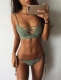 2017 Cut out Vintage Pin up 2 Piece Bikini Swimsuit for Women Bikini Set Army Green