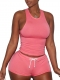 2017 Women's Sleeveless Hooded Crop Top and Short Pants Two Piece Tracksuit