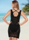 2017 Women's Solid Knitted Crochet Beach Skirt Beach Cover Up Black