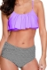2017 Women Ruffle Cold Off Shoulder Print 2 Piece Swimsuit Bikini Set purple
