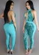 Summer Women Sleeveless and Backless Halterneck V-neck Rompers Sequins Close-Fitting Jumpsuits Light Blue