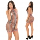 Stripe Halter Fishnet Chemise Dress