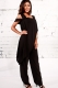 Black Irregular Sleeve Plain Chiffon Jumpsuit