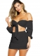 Black Sexy Strapless Long Sleeve Two-piece Dress