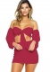 Wine Red Sexy Strapless Long Sleeve Two-piece Dress
