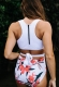 White Top Part and  Under Part with Floral Print One-Piece Swimsuit