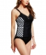 White Slant-Style Stripped Tankini with Triangular Briefs