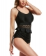 Black Hollow Out Waist Design One-piece Swimsuit