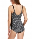 Black Wave Print One-piece Swimsuit