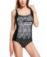 Black Snowflake Print One-piece Swimsuit