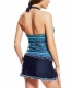 Contrate White Trim Geometry Print Halter Tankini Skort Swimsuit