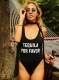 Western Letter Print Tankini One-piece Swimsuit TEQUILA POR FAVOR