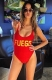 Fashion One Piece High Leg Letter Printed Swimwear FUEGO