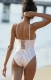 Lace-up Deep V-neck One-piece Swimwear With Yellow Stripe Printed