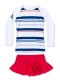 Girls Summer 2 Pieces Long Sleeve Swimsuit Striped Swimming Skirt