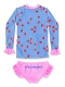 Girls Ruffled Long Sleeve Swimsuit Set Strawberry Pattern Swimwear