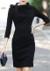 Turtleneck And Knot Decorated Elegant Midi Dress With Zip At Back