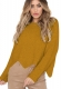 Women O-neck Irregular Hem Loose Sweater
