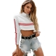 Fashion Women O-neck Patchwork Crop Top With Long Sleeves